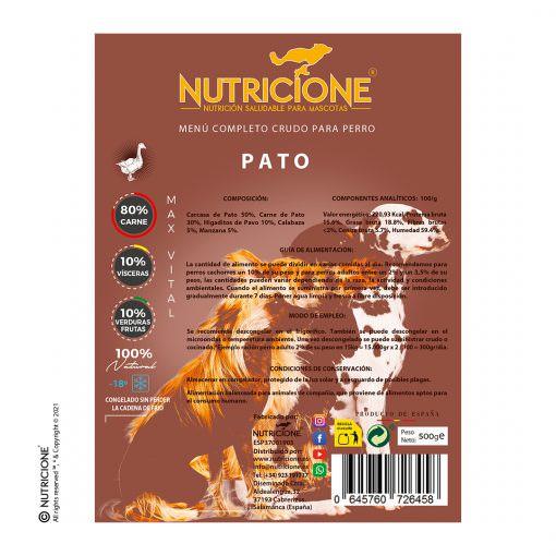 etiqueta-menú-pato-completo-crudo-perro-alimento-maxvital-nutricione