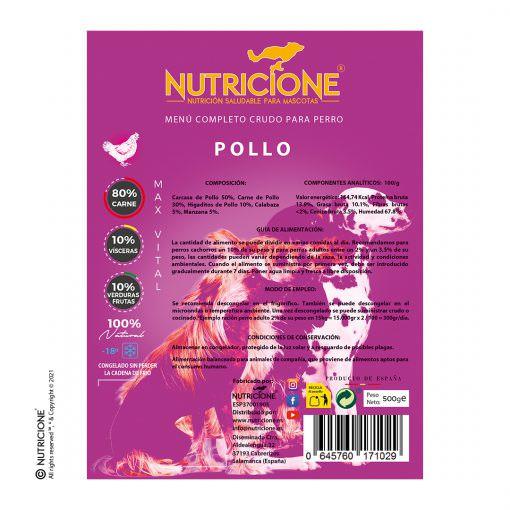 etiqueta-menú-pollo-completo-crudo-perro-alimento-maxvital-nutricione