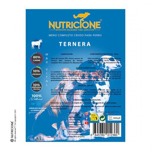 etiqueta-menú-ternera-completo-crudo-perro-alimento-maxvital-nutricione